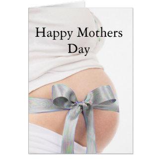 Mujer embarazada del día de madre felicitación