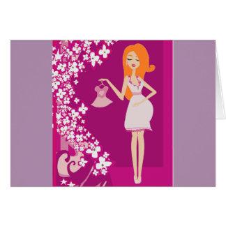 mujer embarazada del redhead tarjeta de felicitación