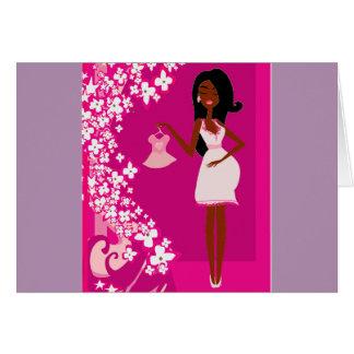 mujer embarazada negra tarjeta de felicitación