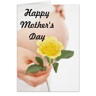 Mujer embarazada Yelliow del día de madre Tarjeta De Felicitación