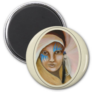 Mujer emergente 3 imán redondo 5 cm