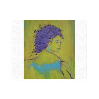Mujer en azul impresión en lienzo