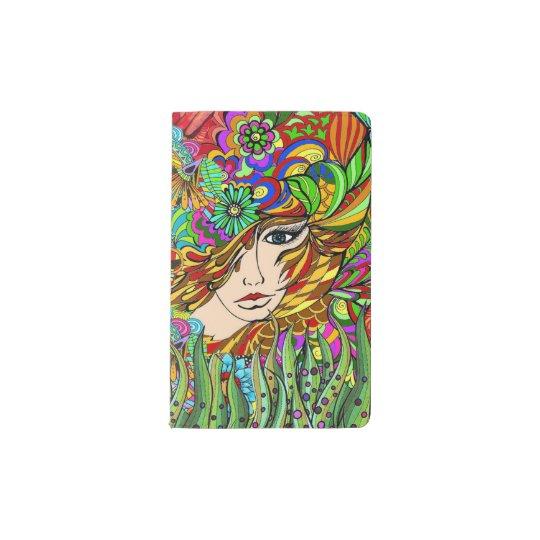 Mujer en cuaderno del jardín