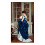 Mujer en el azul, leyendo un libro tarjeta postal