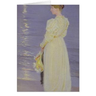 Mujer en el blanco en una playa, 1893 tarjeta