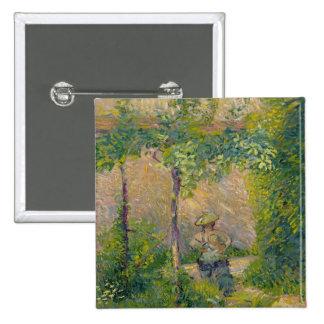 Mujer en el jardín (aceite en lona) pin