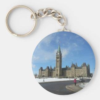 Mujer en el parlamento canadiense en Ottawa Llavero Redondo Tipo Chapa
