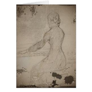 Mujer en el piano (piano de Vid de la presa) Tarjeta