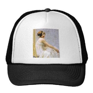 Mujer en la pintura blanca del vestido gorra