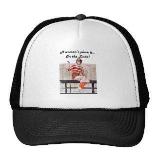 Mujer en los vínculos gorras de camionero