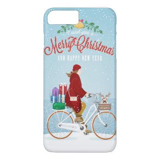Mujer en teléfono rojo de las Felices Navidad de Funda iPhone 7 Plus