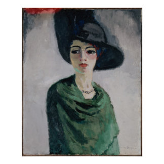 Mujer en un gorra negro póster