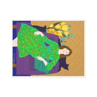 Mujer en vestido verde con el gato y las flores impresión en lienzo