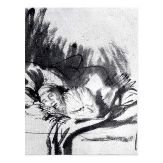 Mujer enferma en una cama, quizá Saskia Postal