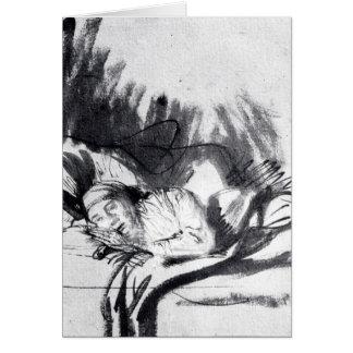 Mujer enferma en una cama, quizá Saskia Felicitación