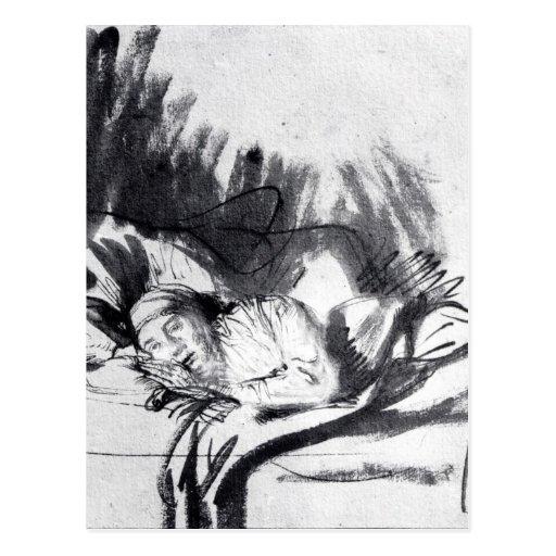 Mujer enferma en una cama, quizá Saskia Postales