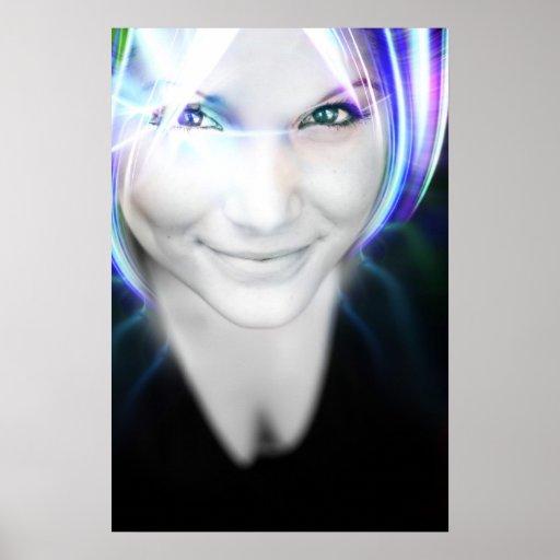 Mujer futurista del pelo que brilla intensamente poster