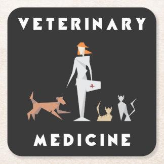 Mujer geométrica de la veterinaría posavasos de papel cuadrado