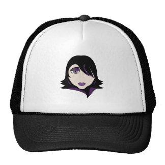 Mujer gótica del espía en púrpura gorras