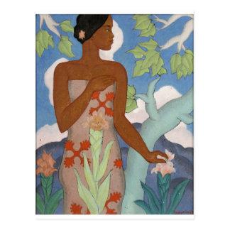 Mujer hawaiana, por Arman Manookian C. 1929 Postal