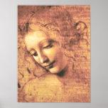 Mujer hermosa de Leonardo da Vinci Póster