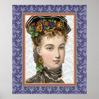 Mujer hermosa del Victorian con los pensamientos e Impresiones