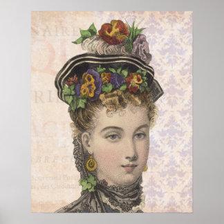 Mujer hermosa del Victorian con los pensamientos e Poster