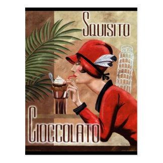 Mujer italiana del chocolate de Squisito Cioccolat Tarjeta Postal