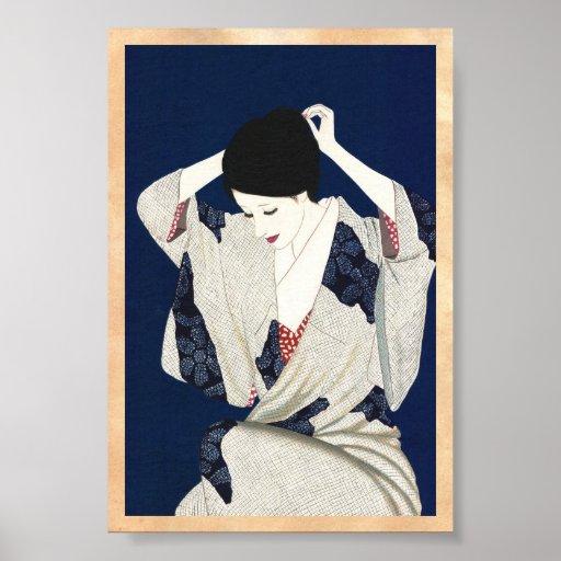 Mujer japonesa clásica de la señora del pelo de Ta Posters