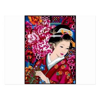 Mujer japonesa del vintage en kimono postal