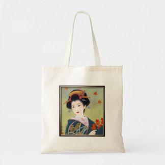 Mujer japonesa en kimono azul bolsa tela barata