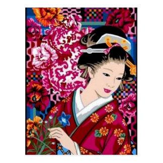 Mujer japonesa en kimono postal