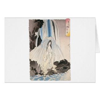 Mujer japonesa en la cascada, arte japonés antiguo tarjeta de felicitación