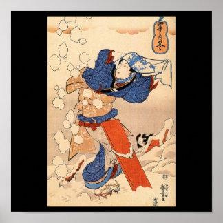 Mujer japonesa hermosa en la nieve C. 1800's Póster