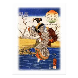 Mujer japonesa por el 歌川国芳 de Utagawa Kuniyoshi Postal