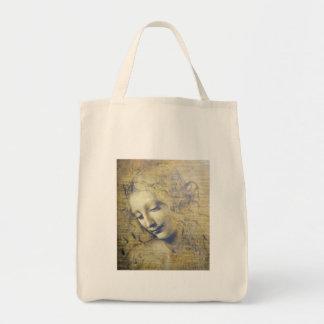 mujer joven 2 bolsa tela para la compra