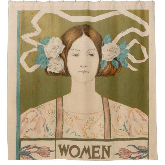 Mujer joven con las flores cortina de baño