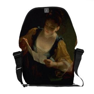 Mujer joven que lee una letra (aceite en lona) bolsas de mensajeria
