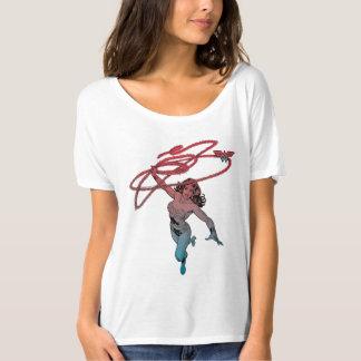 Mujer Maravilla con la línea azul roja arte de la Camiseta