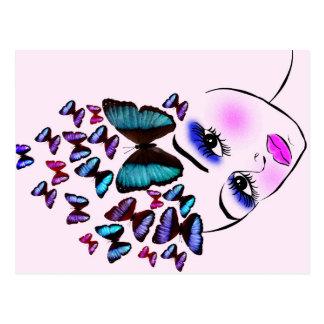 Mujer mariposa postal