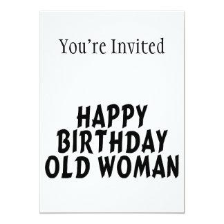 Mujer mayor del feliz cumpleaños invitación 12,7 x 17,8 cm