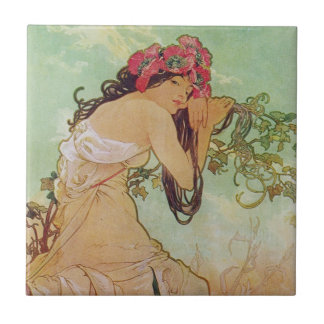 Mujer melancólica azulejo cuadrado pequeño