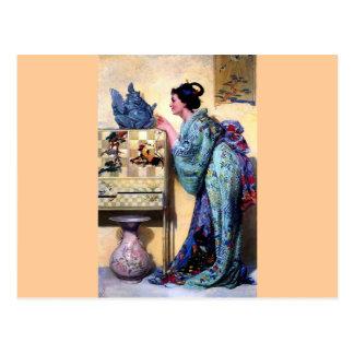 Mujer oriental Paintng del arte Postal