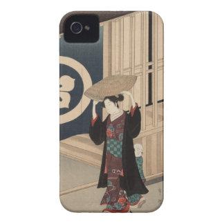 Mujer que camina - japonés Woodblock del vintage Carcasa Para iPhone 4