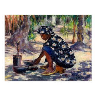Mujer que cocina 2004 postal