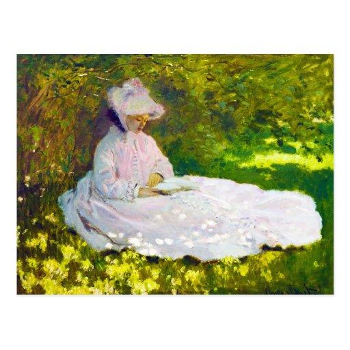 Mujer que lee a Claude Monet Postales