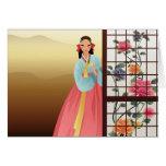 mujer que lleva un hanbok tarjeta de felicitación