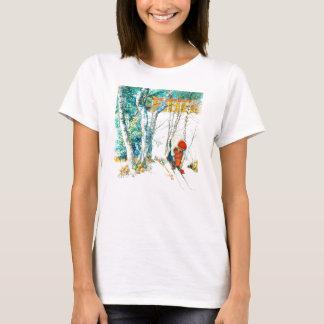 Mujer que pone en sus esquís camiseta