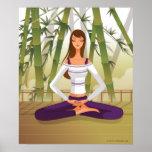 Mujer que se sienta en la posición de loto, póster