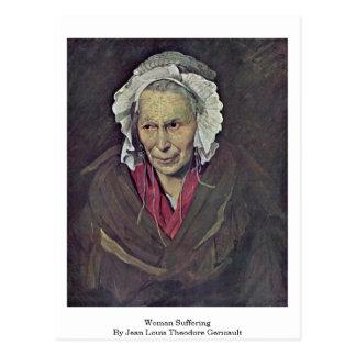Mujer que sufre por Jean Louis Theodore Gericault Postal